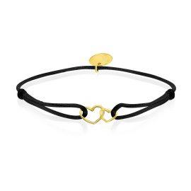 Satin Bracelet Hearts Black