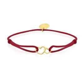 Satin Bracelet Hearts Bordeaux