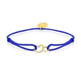 Satin Bracelet Hearts Bright Blue