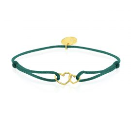 Satin Bracelet Hearts Dark Green