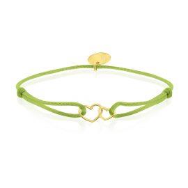 Satin Bracelet Hearts Green