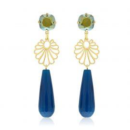 Diva Earrings Blue Goldplated