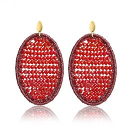 Beads Earrings Red